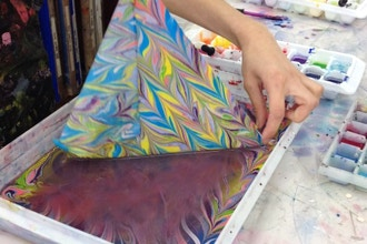 After Workshop: Fabric Marbling