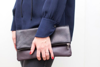 Leather Fold Over Zip Clutch