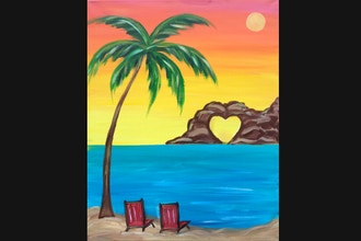 Paint And Sip Lovers Paradise Acrylic Painting Classes Los Angeles Coursehorse The Paint Sesh