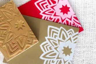Holiday Card and Gift Tag Block Printing