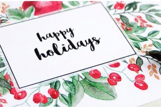 Watercolor and Calligraphy Holiday Cards and Gift Tags
