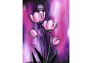 Virtual Paint Nite: Perfectly Pink Tulips