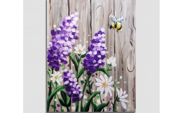 Paint Nite: Bee-utiful Barnyard Lilacs