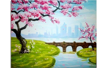 Paint Nite: Blossoms and a Bridge