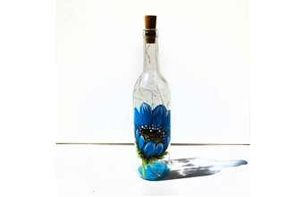 Paint Nite: Blue Flower Wine Bottle (Ages 6+)