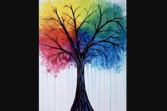 Virtual Paint Nite: Bright Rainbow Tree (Ages 6+)