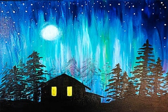 Paint Nite: Cabin in the Northern Light