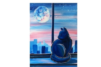 Paint Nite: City Cat Sunrise