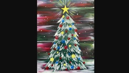 Virtual Paint Nite Colorful Christmas Tree Painting Classes New York Coursehorse Yaymaker