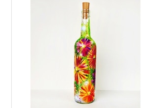 Paint Nite: Daisy Field Wine Bottle with Fairy Lights