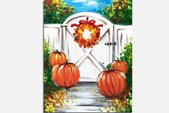 Paint Nite: Fall Cottage Gate with Pumpkins