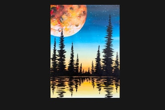 Paint Nite: Full Moon Forest Silhouette