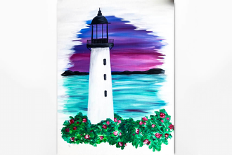 Paint Nite: Lighthouse Sunset By The Sea