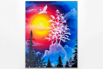 Paint Nite: Misty Mountain Sunset