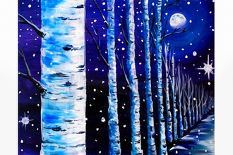Moonlit Winter Birch Path