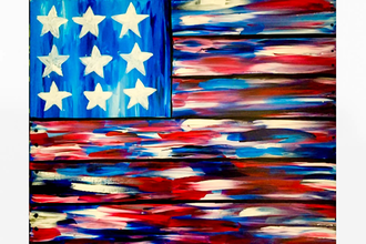 Paint Nite: American Flag Faux Wood Board