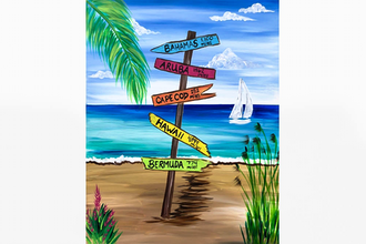 Paint Nite: Beach Sign to Paradise