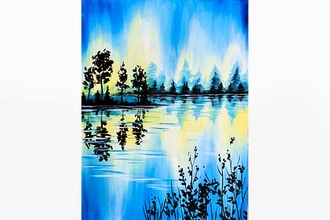 Paint Nite: Blue Lake Silhouette