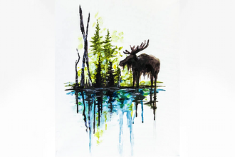 Paint Nite: Bruce The Moose Meets Spruce