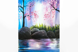 Paint Nite: Cherry Blossoms on the Rocks