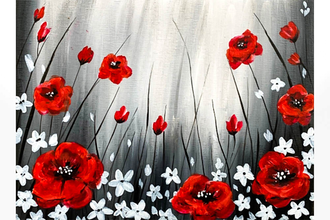 Paint Nite: Field of Red Poppies