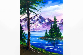 Paint Nite: Happy Mountains and Trees