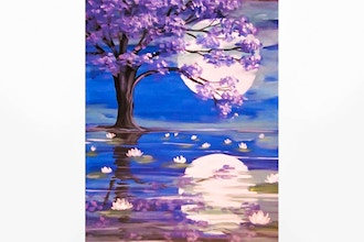 Paint Nite: Lily Pond Under the Moonlight