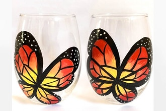 Paint Nite: Mini Beautiful Butterfly Stemless Wine