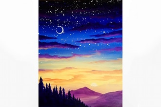 Paint Nite: Purple Mountain Nightfall