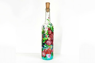 Paint Nite: Roses &Berries Wine Bottle w/ Fairy Lights