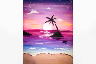 Paint Nite: Sherbet Sunrise Over The Beach