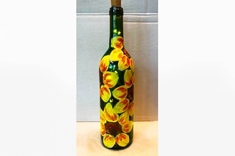 Paint Nite: Wine Bottle Sunflower Twinkle Lights