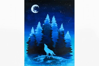 Paint Nite: Wolf Howling in the Woods