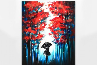 Red Forest Black Umbrella