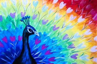 Virtual Paint Nite: Peacock Show of Hearts (Ages 6+)