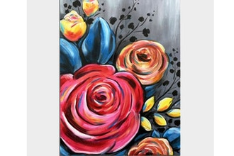 Paint Nite: Pink and Orange Rose Bouquet