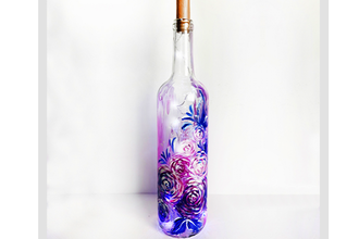 Paint Nite: Purple Roses Wine Bottle with Fairy Lights