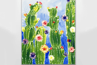 Paint Nite: Rainbow Cactus Flowers