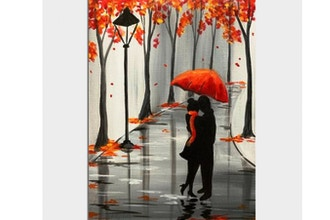 Paint Nite: Rainy Autumn Lovers