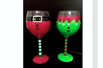 Paint Nite: Santa & Elf Wine Glasses