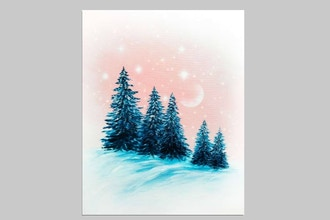 Paint Nite: Snow Sparkle Spruces