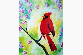 Paint Nite: Spring Cardinal Blossoms