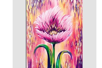 Paint Nite: Spring Flower in Peach and Purple