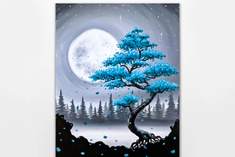 Paint Nite: Teal Bonsai Among the Misty Pines