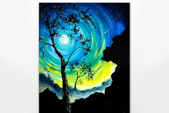 Teal Moonlit Tree