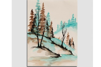 Paint Nite: Teal Streams and Foggy Dreams
