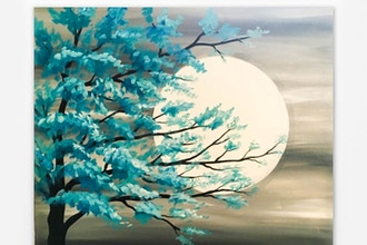 Paint Nite: Teal Tree in Moonlight