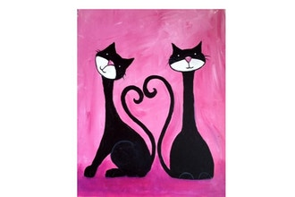 All Ages Paint Nite: Two cats, one heart