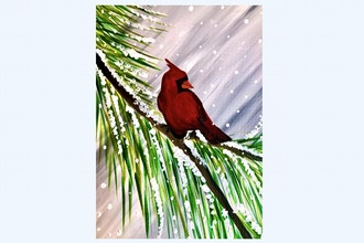 Paint Nite: Winter Cardinal Visit