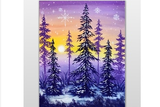 Paint Nite: Winter Forest Sunset